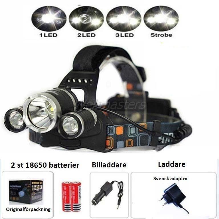 5000 Lumen Pannlampa Lampa 3xT6 CREE LED + Batterier 18650 Batterier + Tillbehör
