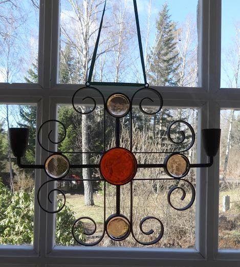 Gunnar Ander Ystad Metall, 2-armad ljusstake/fönsterprydnad. Retro. på