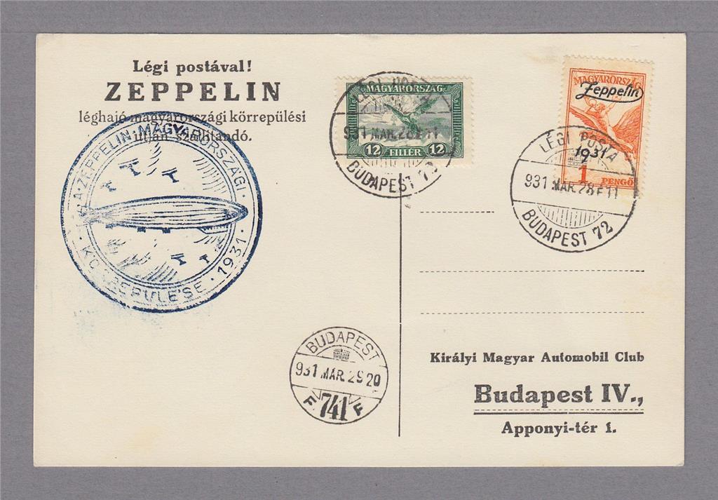 Ungern. Zeppelinförsändelse. Inrikes 1931.