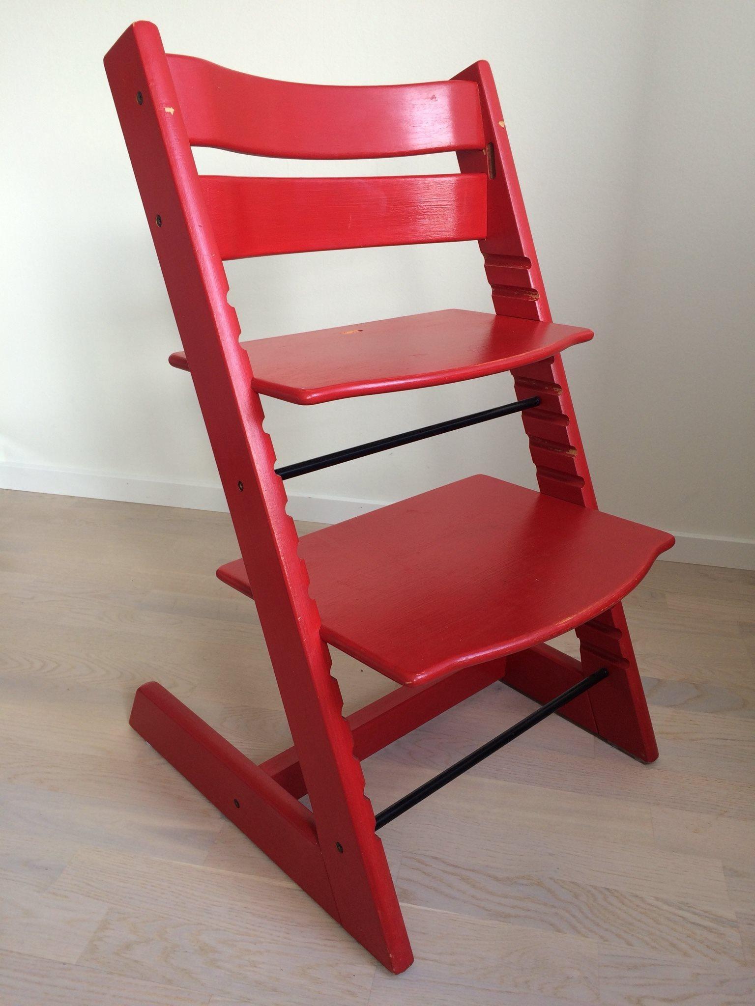 röd original tripp trapp stol (stokke) (311729053) ᐈ köp på tradera