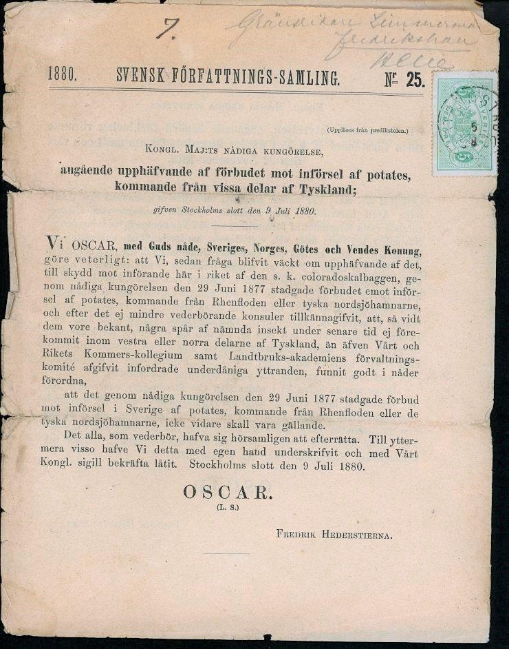 Tj3  - Strömstad 5 juli 1880 på SFS