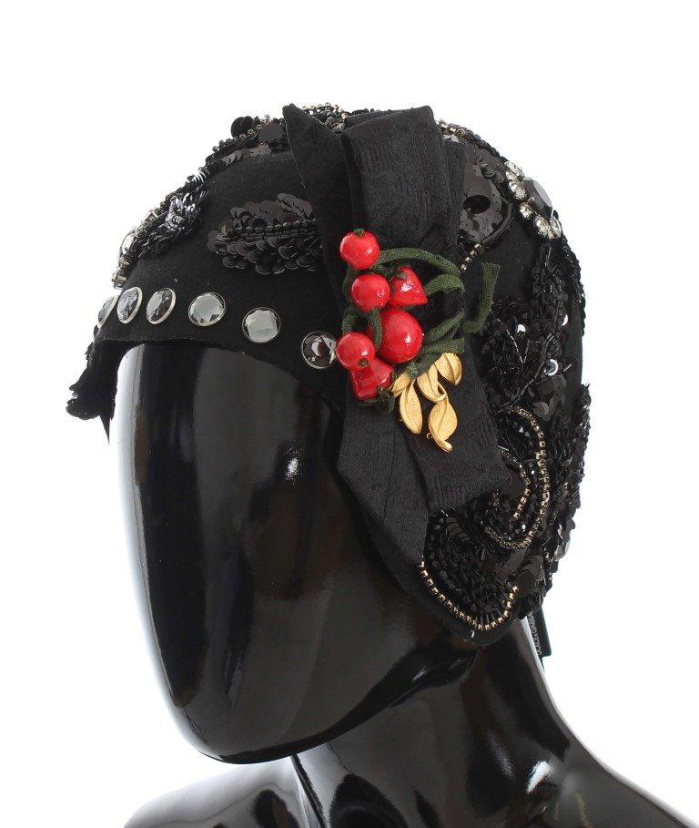 Dolce & Gabbana - Black Crystal Gold Cherries Brooch Hat