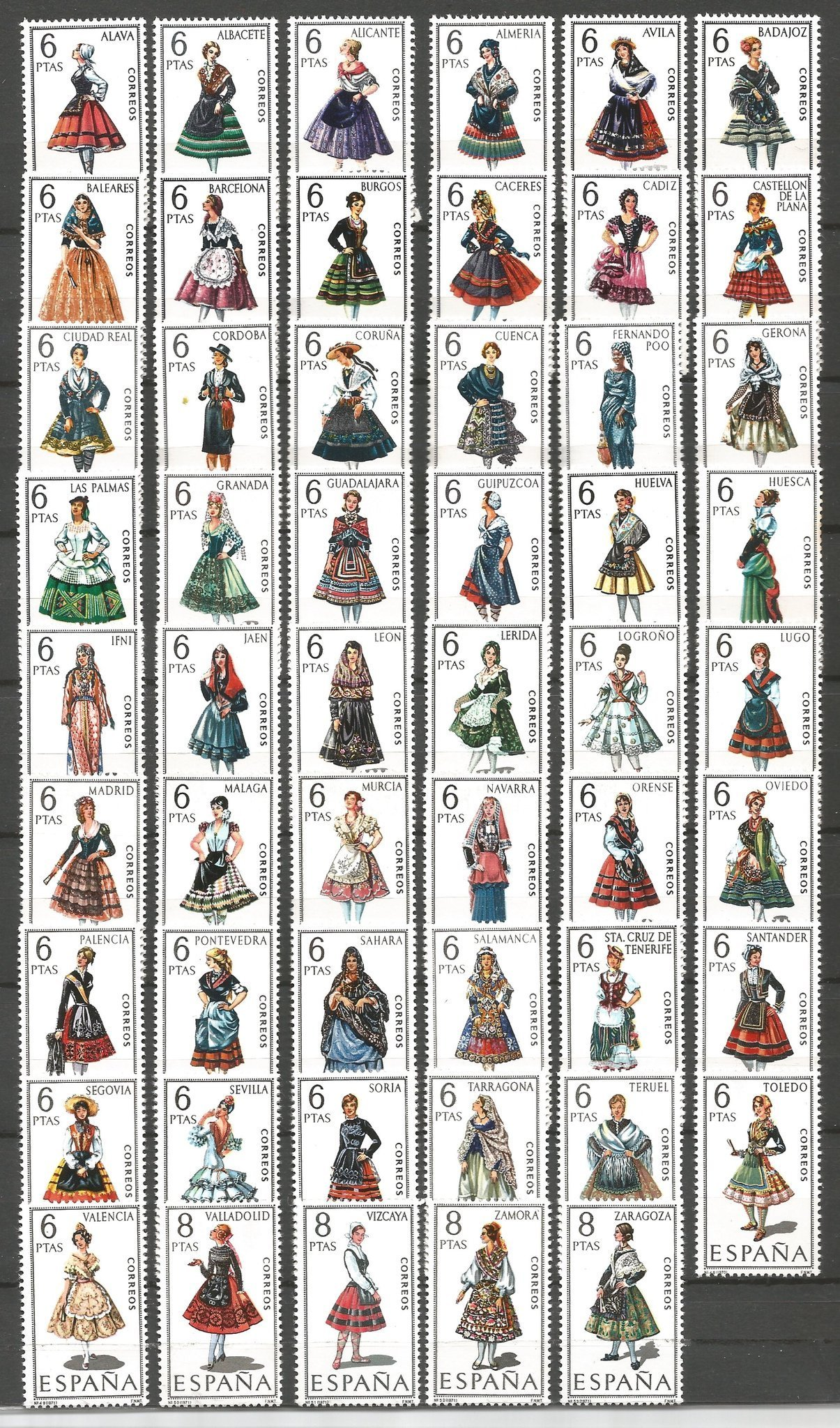 Spain- Regional Costumes- Complete Set - 1967-71- MH- Sc. 1392-1444