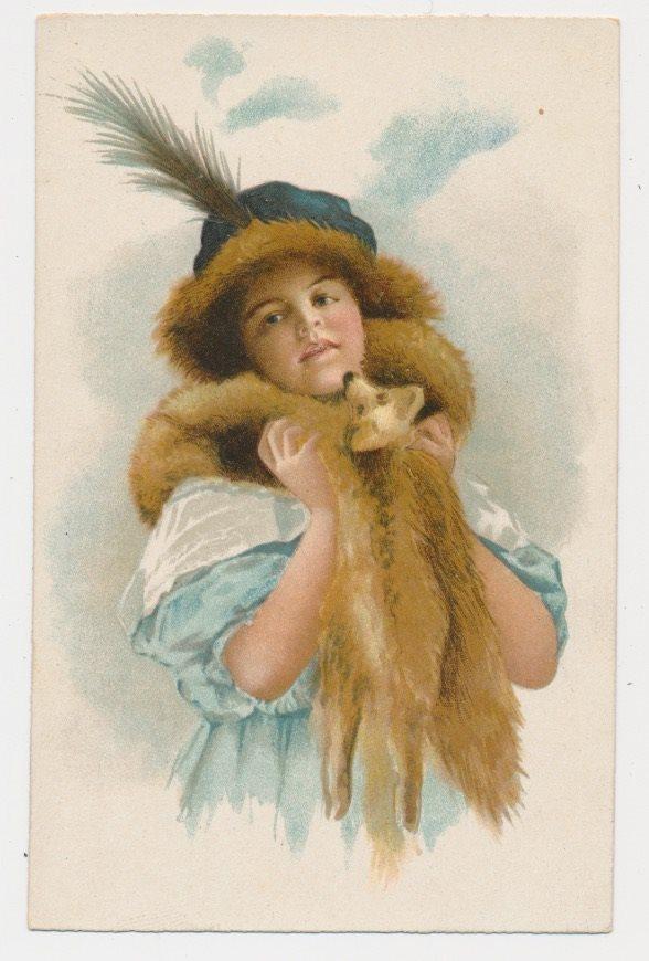 Ung dramatisk kvinna med rävboa o.. (330402388) ᐈ BrunnstaHandel på ... 7936ee870a093