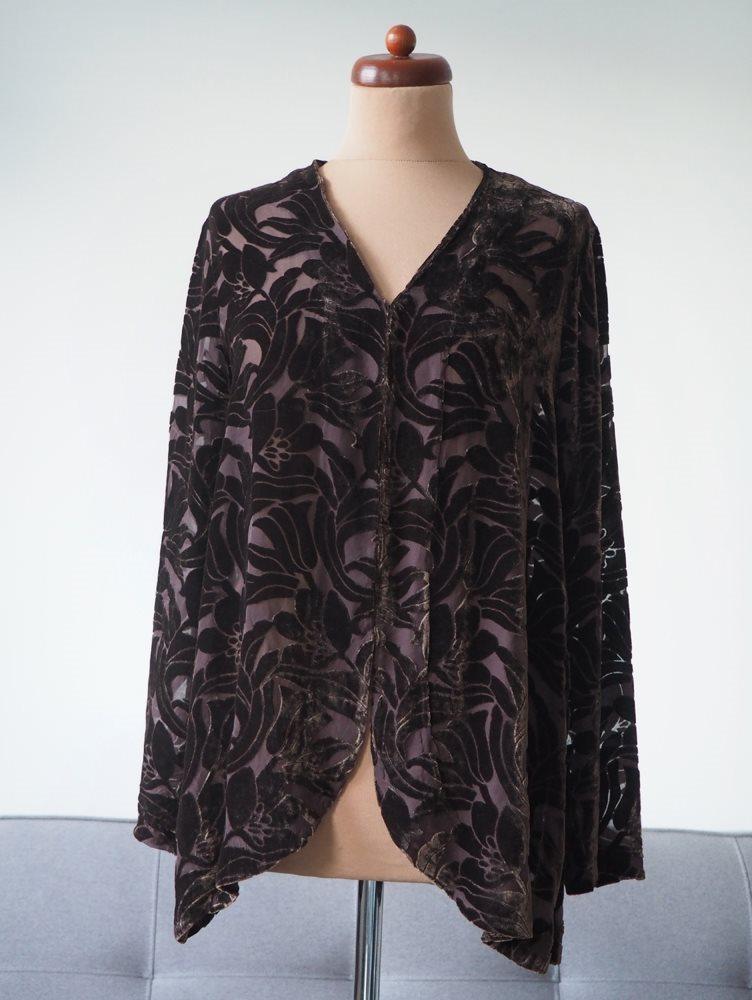 c25be5bcab6a Katrin Uri sammet silke skjorta blus kofta blommor silk velvet romantisk M  L ...