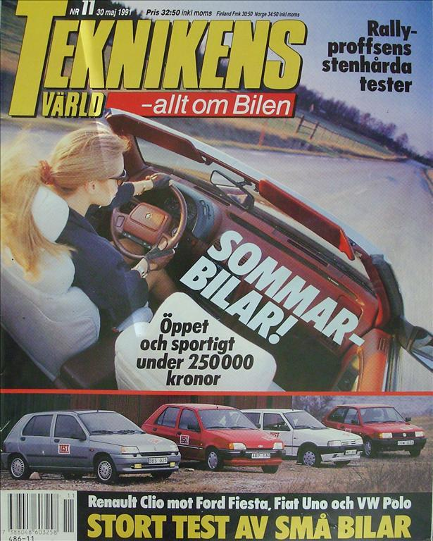 TEKNIKENS VÄRLD 1991/11.Chrysler.Citroen ZX.Solon.Clio,Fiesta, Polo.Alfa Spider