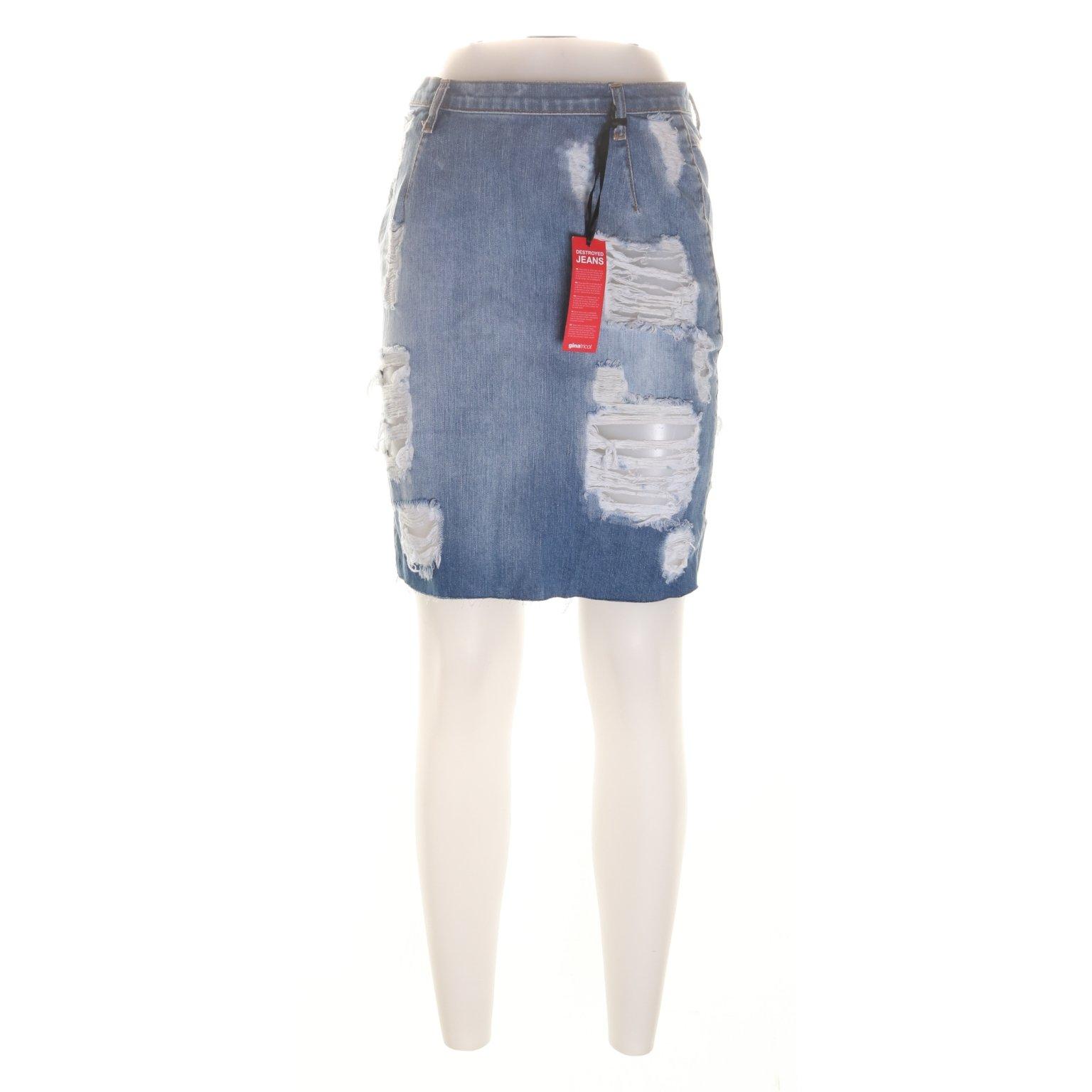 72f215a9cf5c Perfect Jeans Gina Tricot, Kjol, Strl: 36, Blå (350714676) ᐈ Sellpy ...
