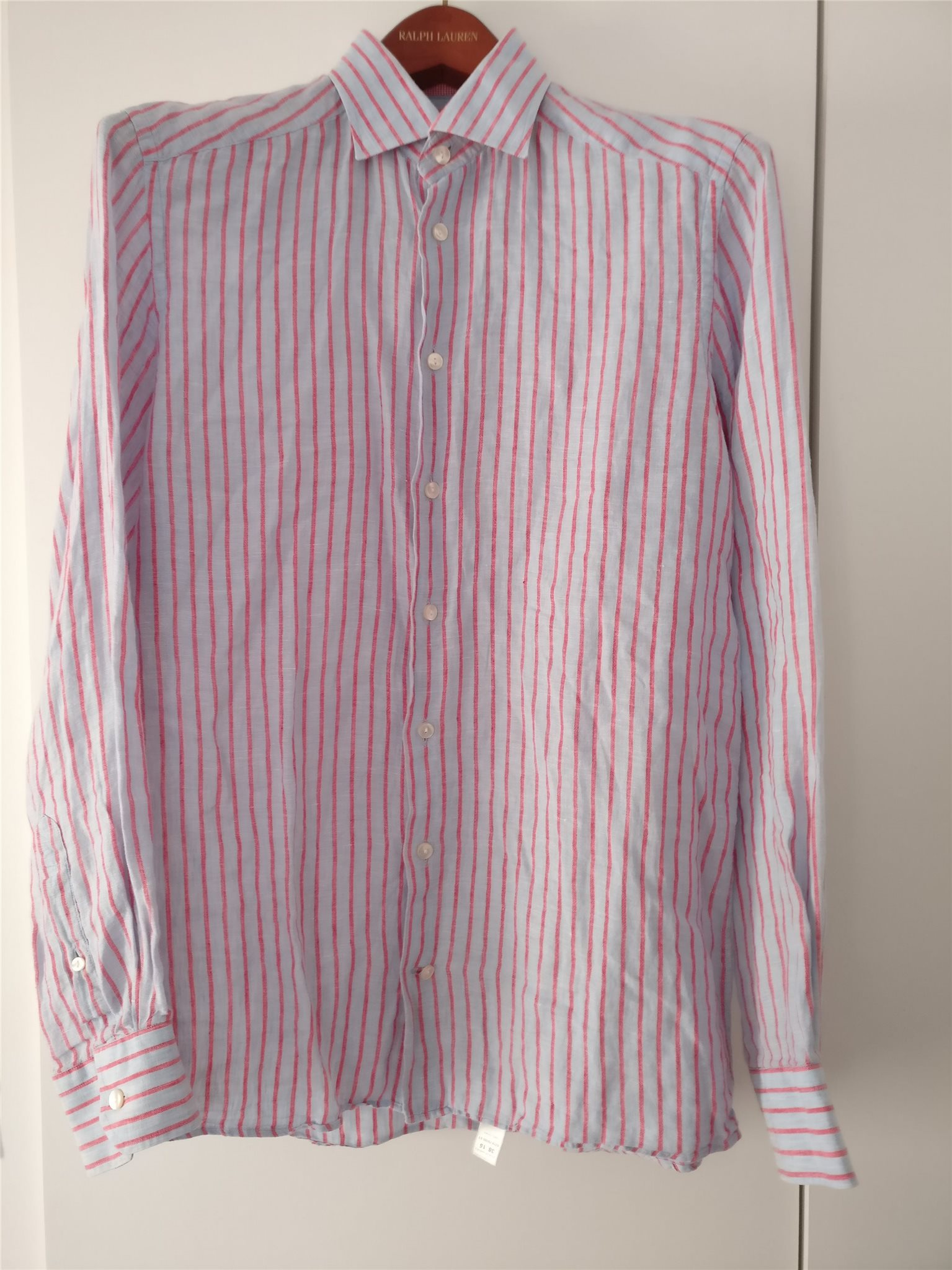 Linne-skjorta ETON, röd-blå-randig (Storlek 38, 15. Contemporary fit)