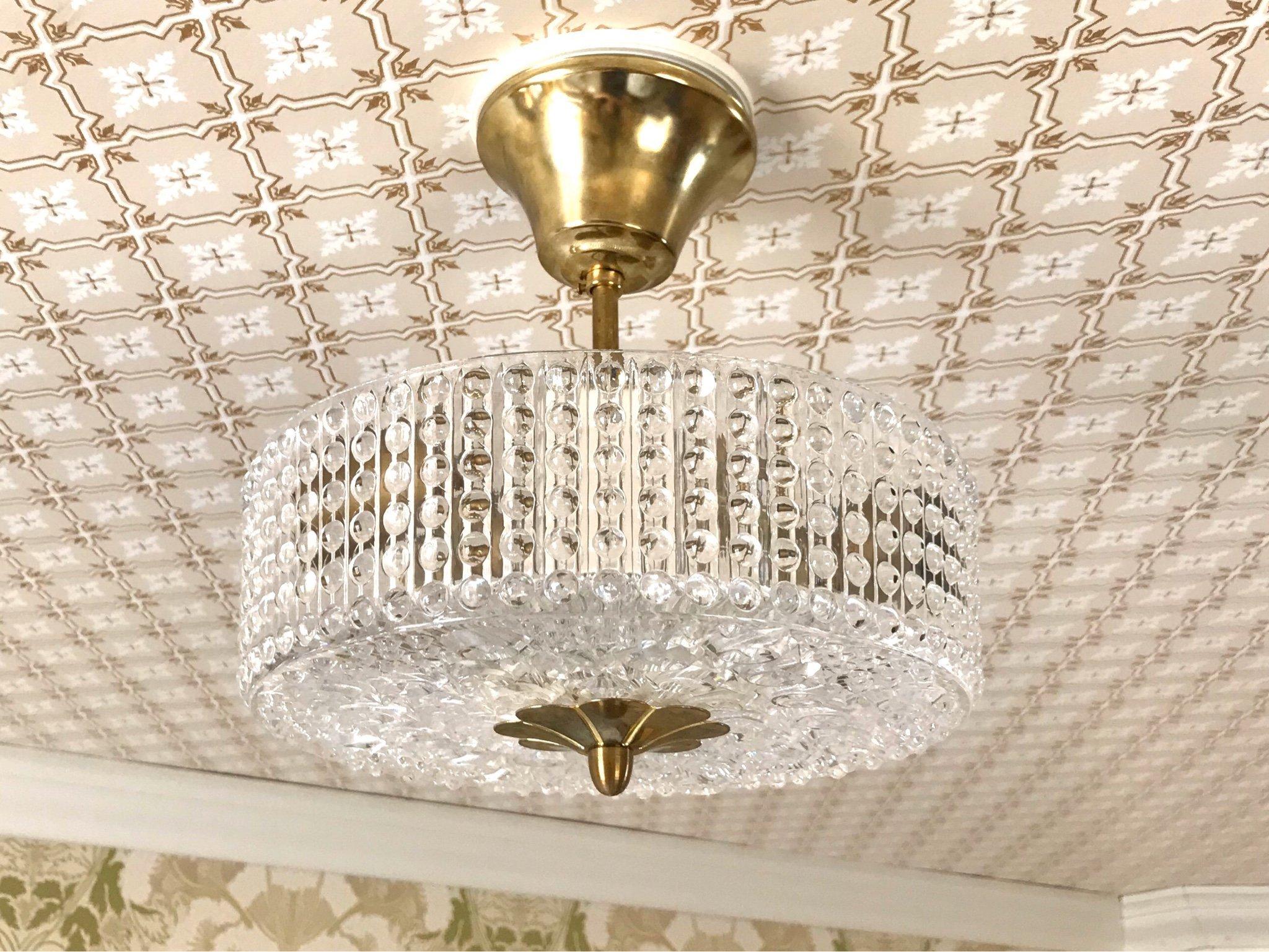 STÅKS armaturer retro taklampa lampa i glas och mässing 60tal
