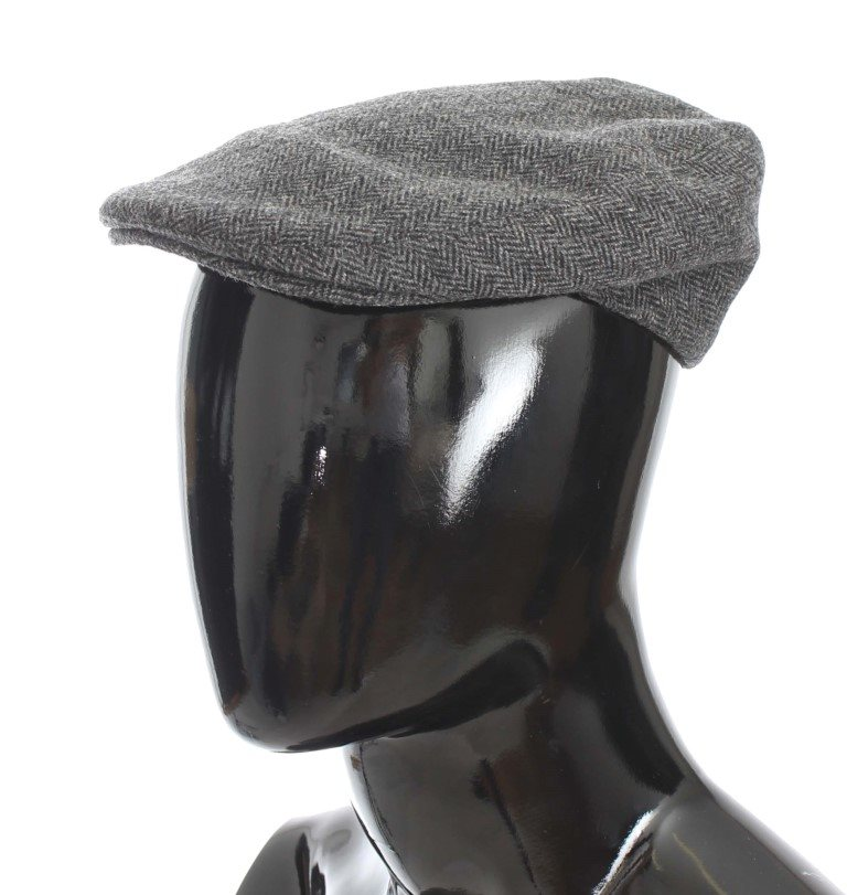 Dolce & Gabbana - Gray Cotton Tweed Newsboy Hat
