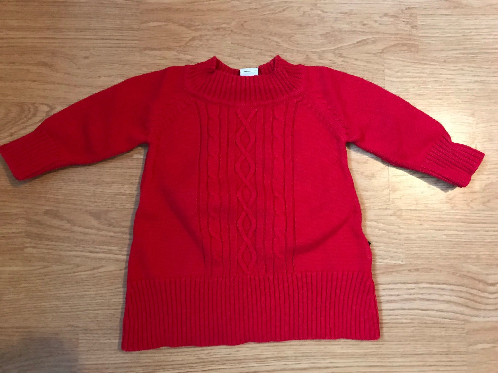 210030ab5a4d Röd stickad klänning från POP i strl 68. (343835825) ᐈ Köp på Tradera