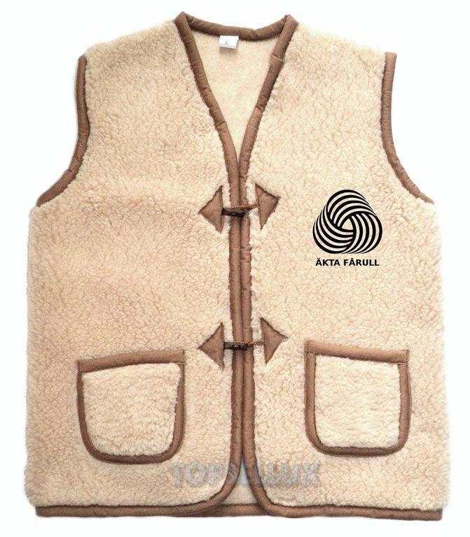 Brun varm höst vinter snygg väst tröja jacka merinoull herr 100% ull Stl XL d9bbc95d666ba