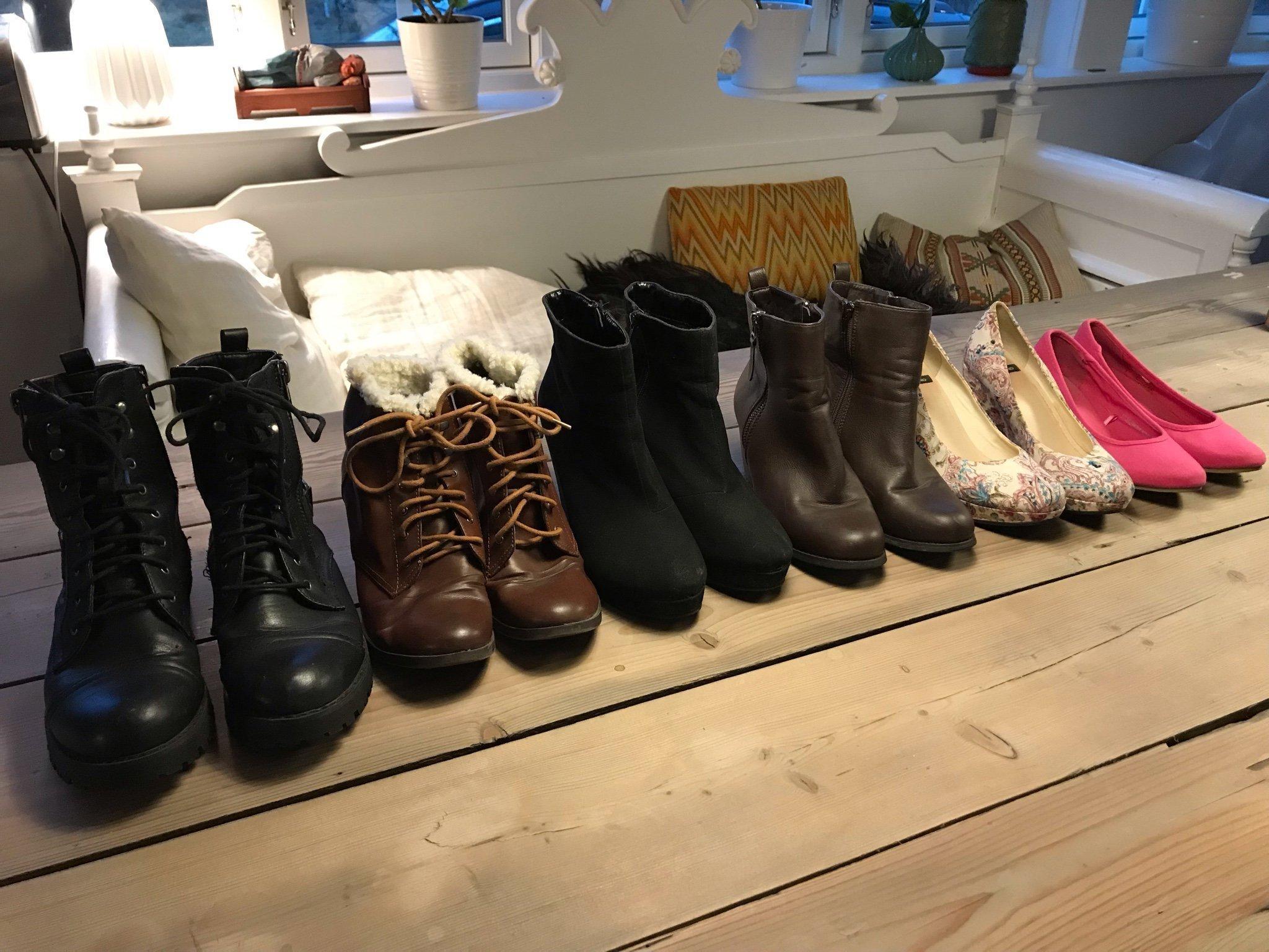 7 par skor i strl 37 38 bland annat Foppa, kängor, klackskor,pumps vagabond