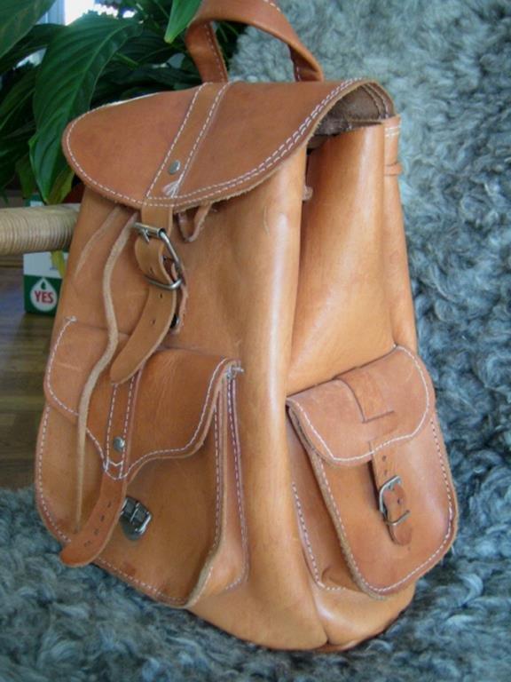 vintage ryggsäck skinn