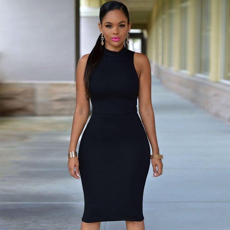 svart tajt klänning