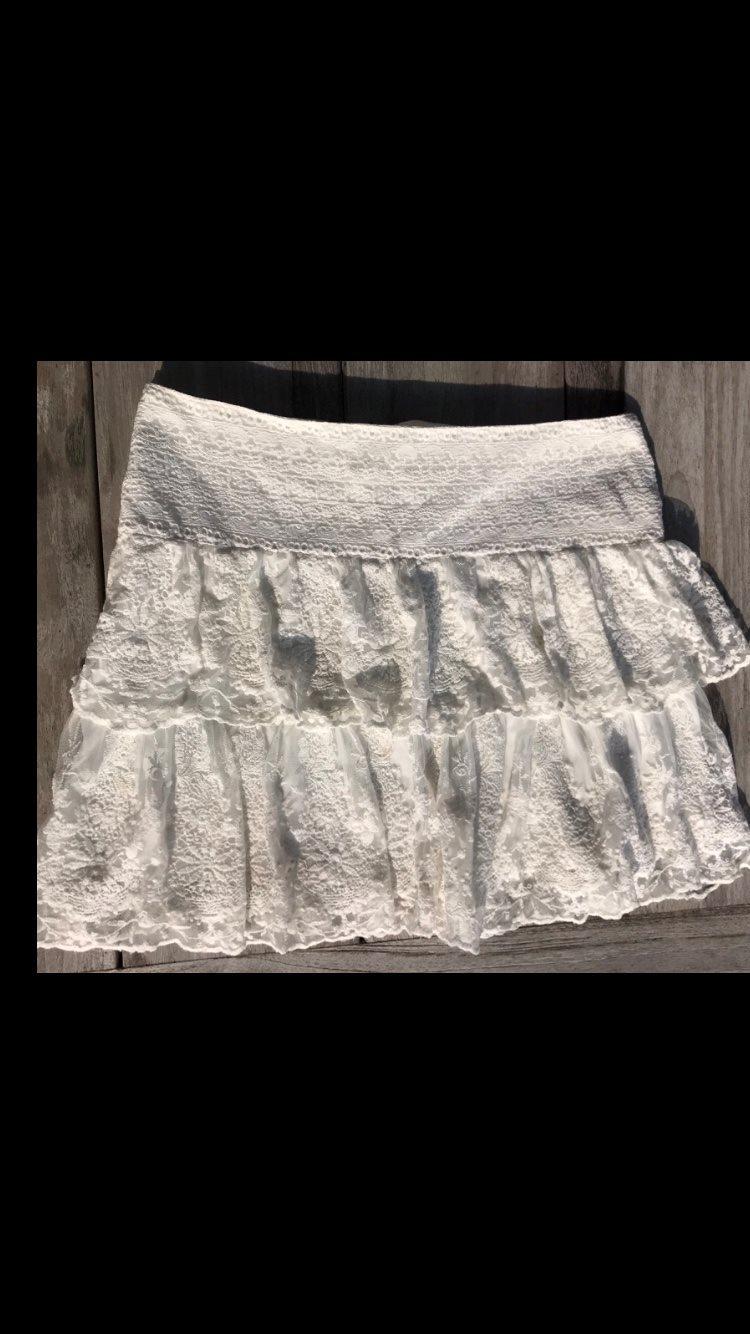 Ny! Vit spetskjol 38 vintage ängel spets lantlig shabby kortkjol vit cremevit