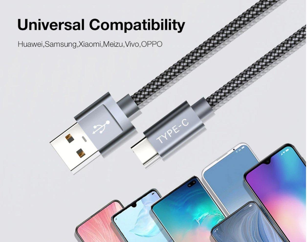 1.5m Flätad Type C Quick Charge 3.0 Laddare USB C Kabel