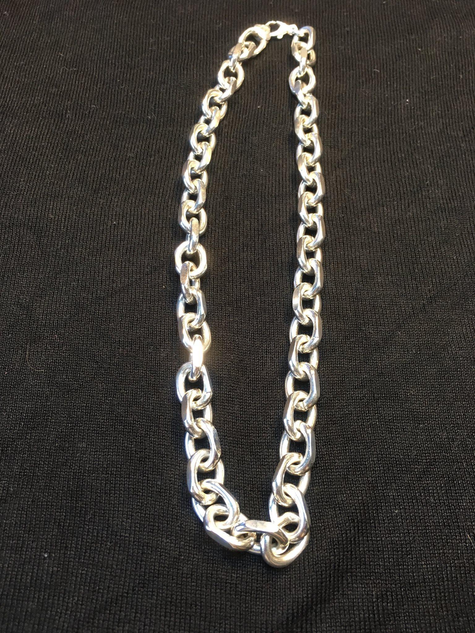 ankarlänk silver halsband