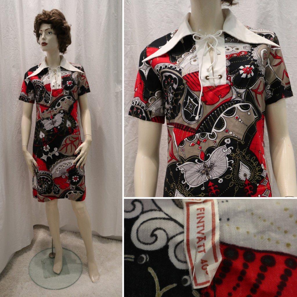 929a3e9a18f9 Vintage retro kortärmad klänning med snörning fram beige svart röd vit 70- tal ...