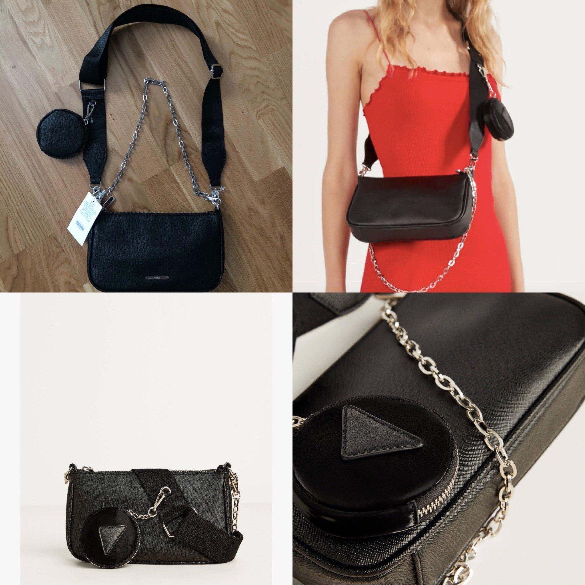 Svart väska med axelband, handväska med avtagbar kedja och axelrem fr BERSKHA