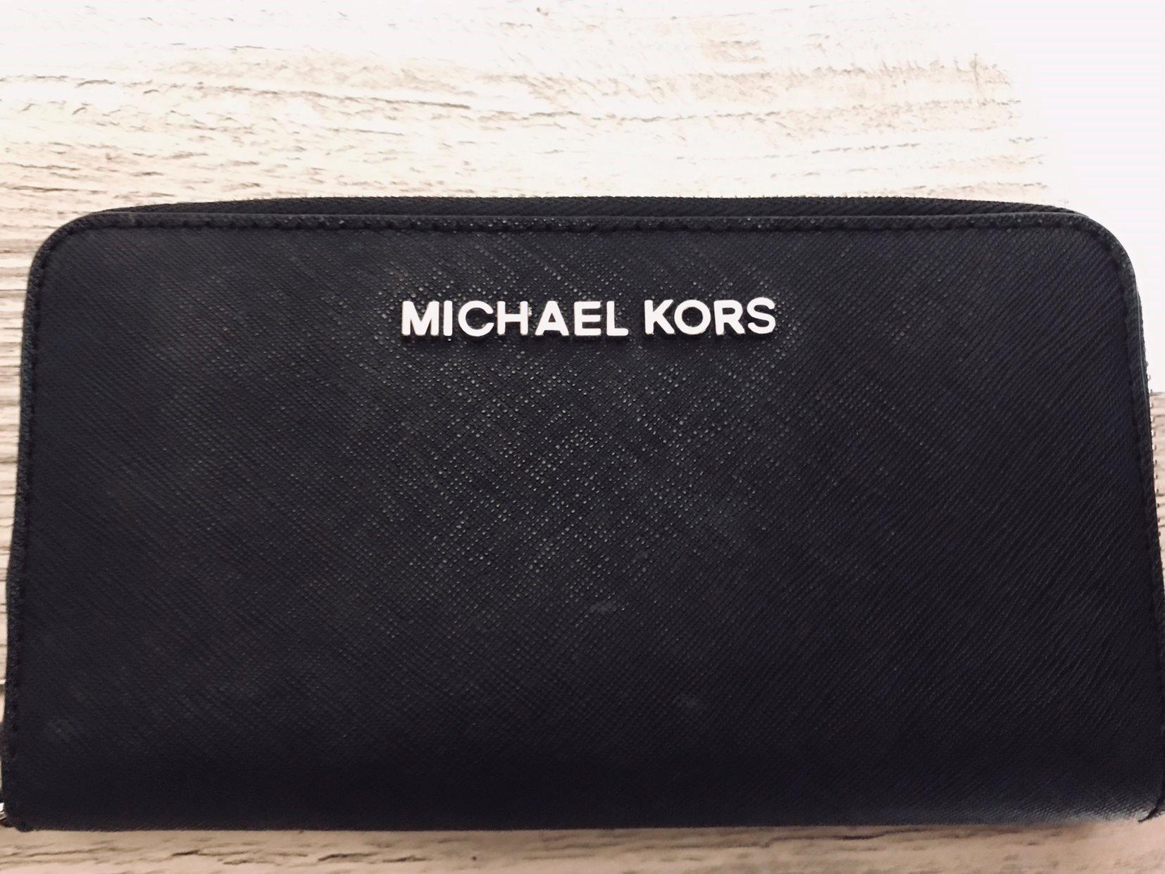 michael kors plånbok svart silver