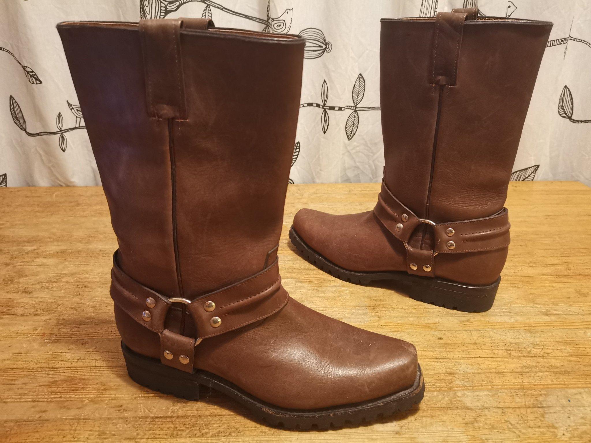 Bruna skinn MC boots African Boots MC stövlar str 42