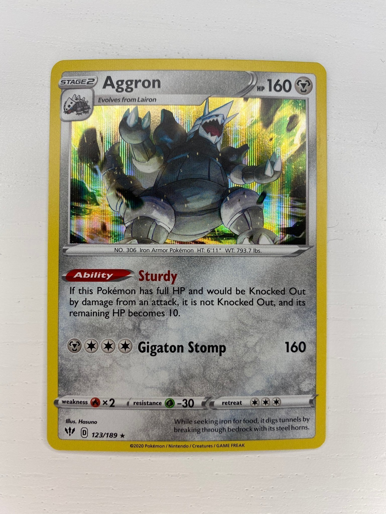 Aggron 123//189 Holo Darkness Ablaze Pokemon TCG