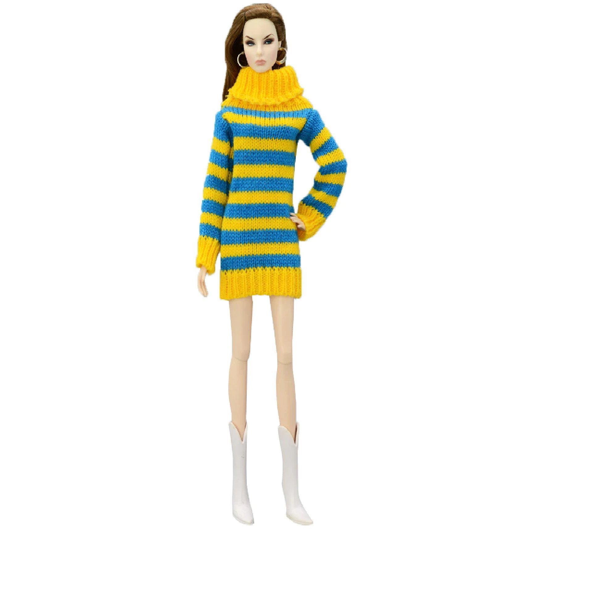 Stickad Tröja Klänning passande Barbie Barbie.. (357138643