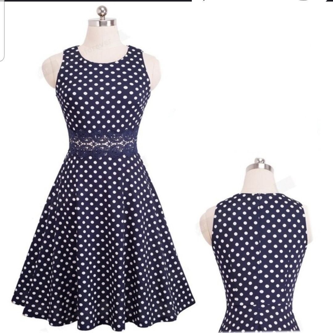 PLUS SIZE Prickig klänning 50-tal/retro/rockabilly/pin up stl: 46