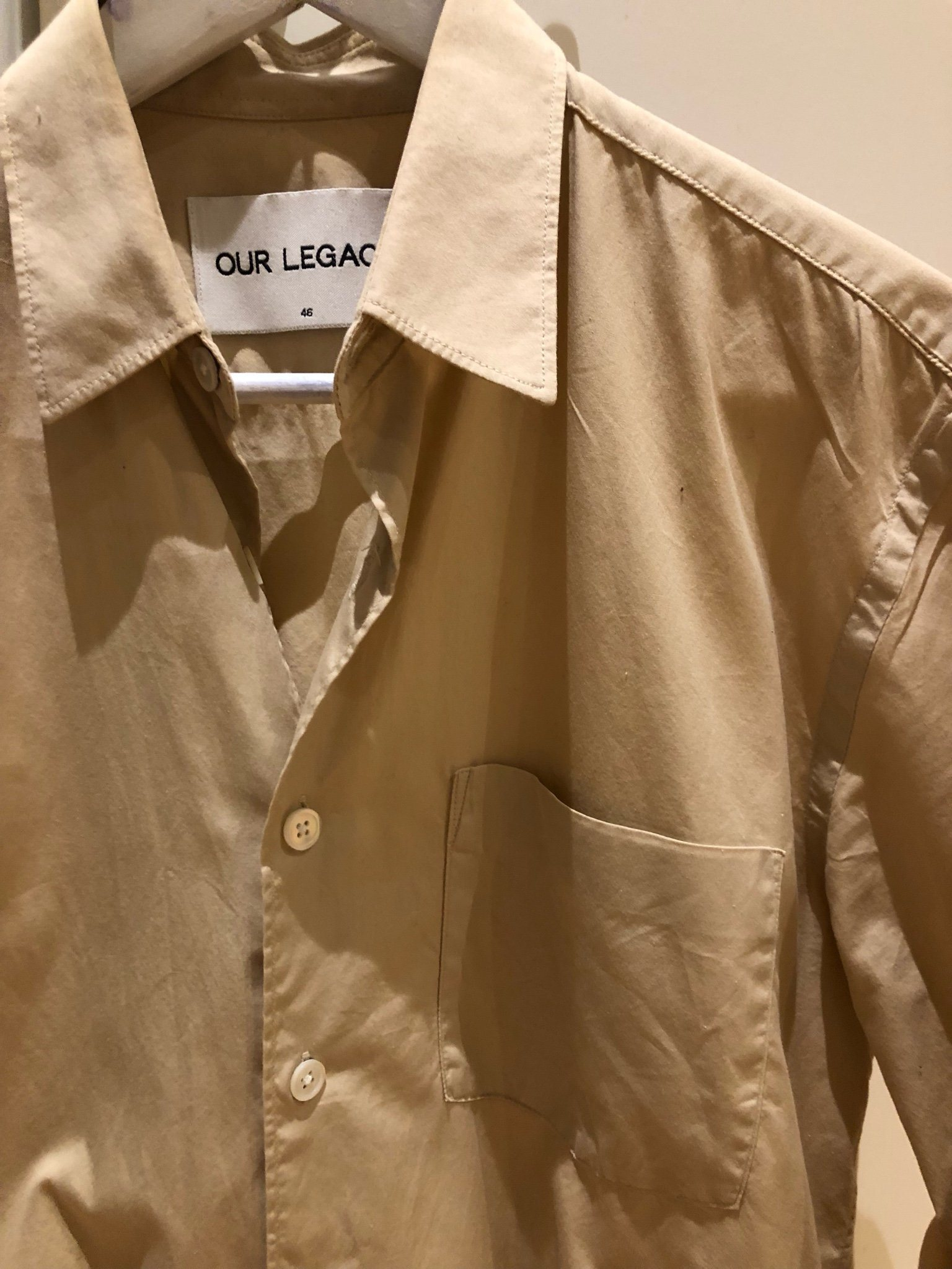 Our Legacy Initial shirt beige size 46 100% cotton