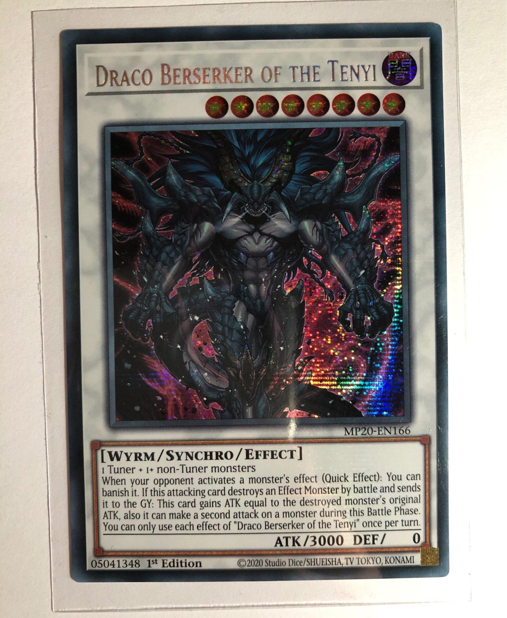 Draco Berserker of the Tenyi Yugioh! Prismatic Secret Rare MP20-EN166