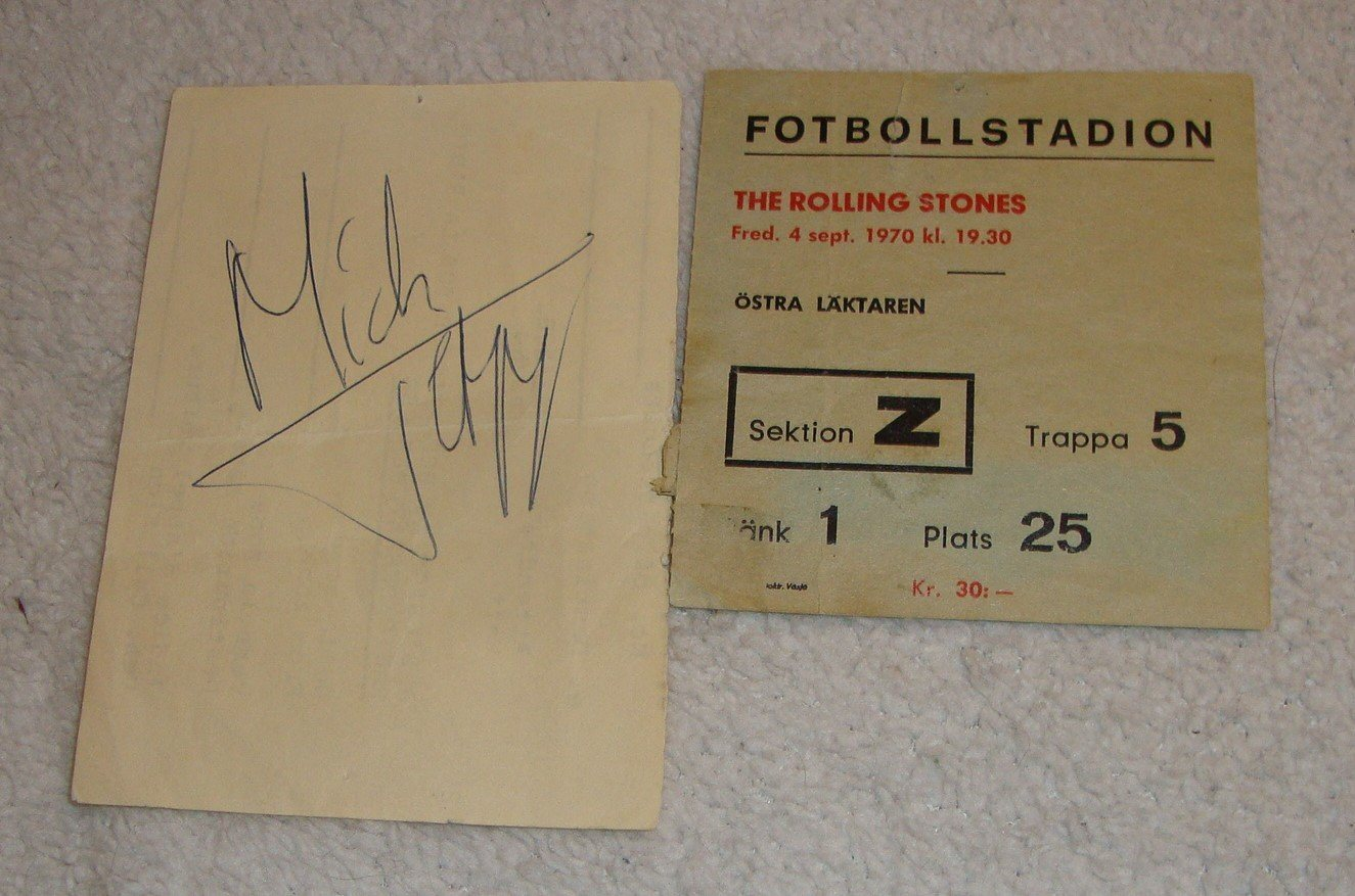 The Rolling Stone Fotbollsstadion 1970 med Mick Jagger autograf