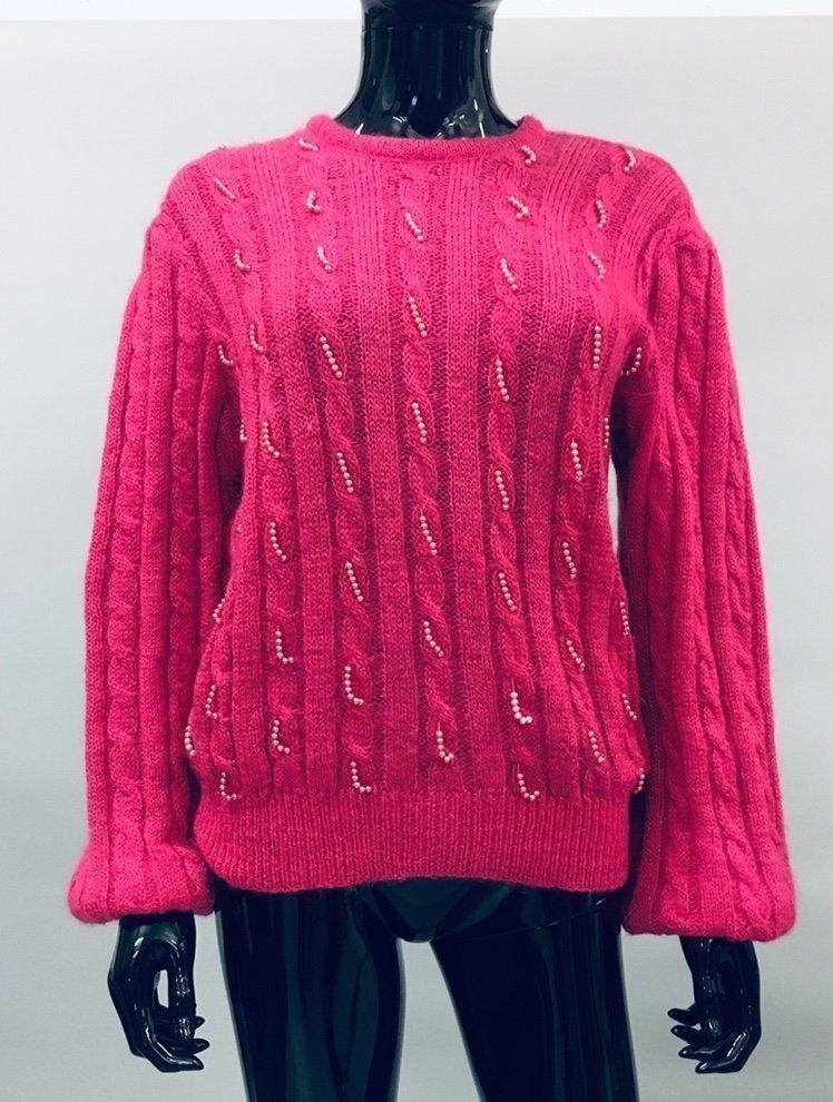 Vintage 80 tal stickad rosa tröja mohair metallic balong ärm pärlor