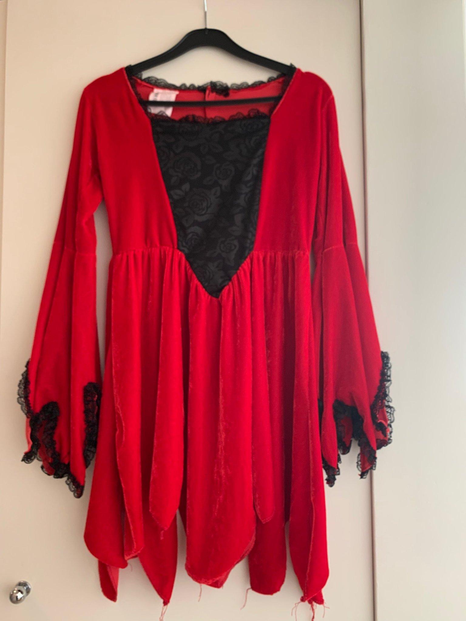 Halloween klänning röd storlek S, Plysch med sv.. (369847309