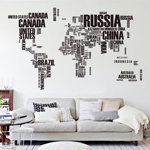 Väggdekor Alfabetet : Diy large world map wall decal stickers på tradera