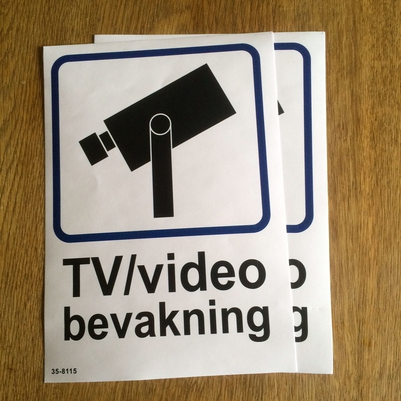 3st Tv- / Video övervakningsskylt självhäftande plast på Tradera.com -