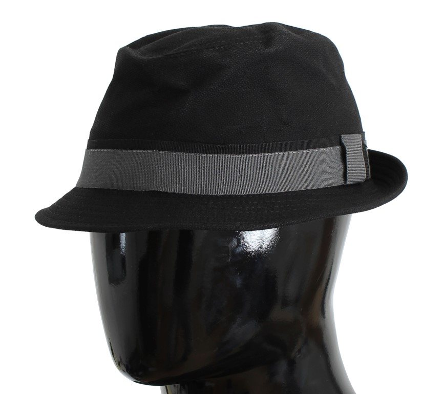 Dolce & Gabbana - Black Gray Cotton Fedora Trilby Hat