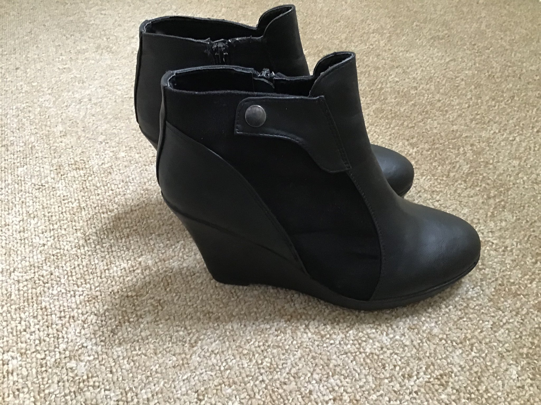 Känga sko, dam, storlek 37, svart skinn och det.. (398394726