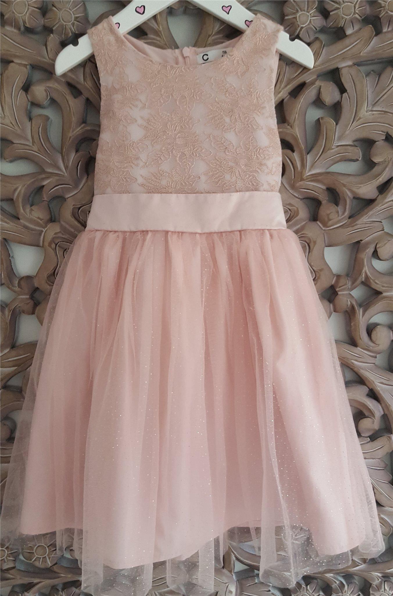 Söt Elegant fin klänning CUBUS gammel Rosa med små guld prickar stl.116 Tyll 8a94bc3406312