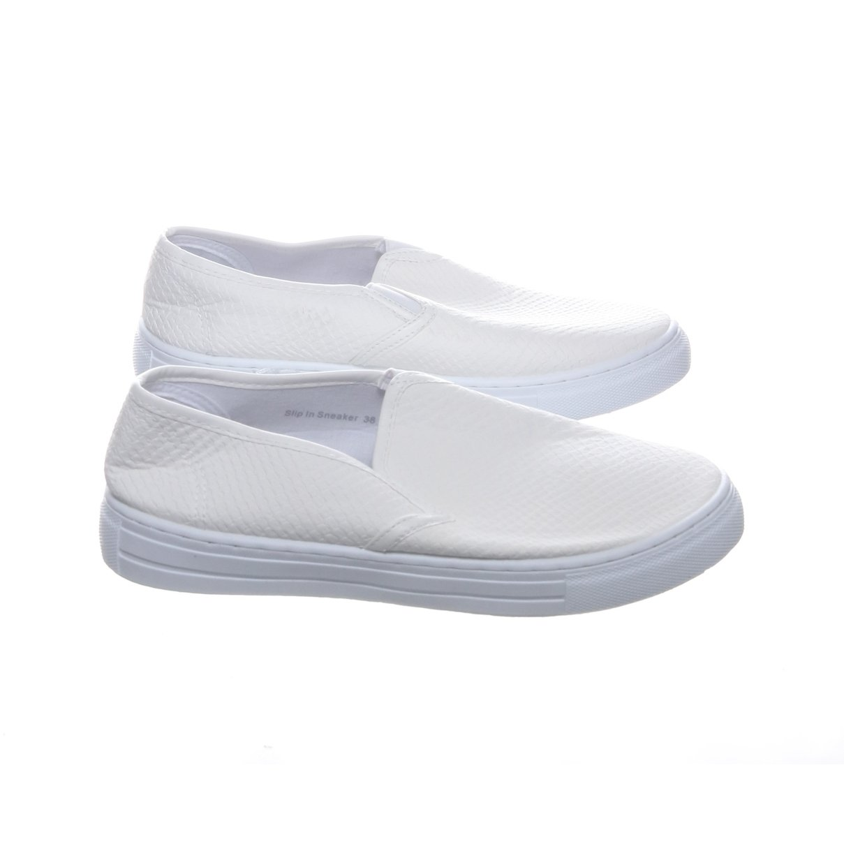 NLY Shoes, Slip-Ons, Strl: 38, Skinnimitation, Benvit