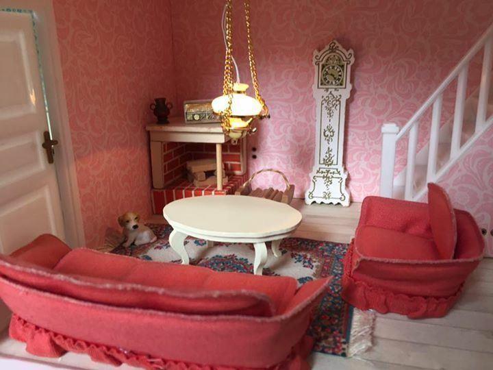 Vardagsrum Retro : Lundby dockskåp möbler vardagsrum soffgrupp dockhus miniatyr retro