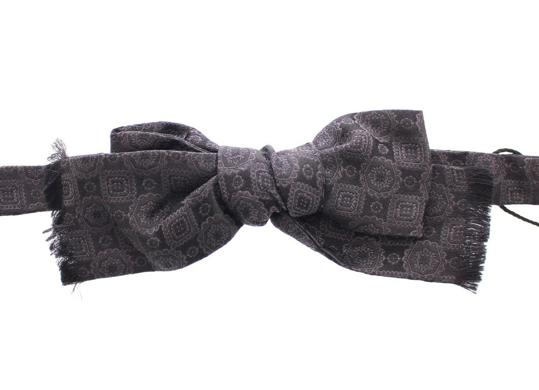Dolce & Gabbana - Black Silk Baroque Fantasi Untied Bow Tie