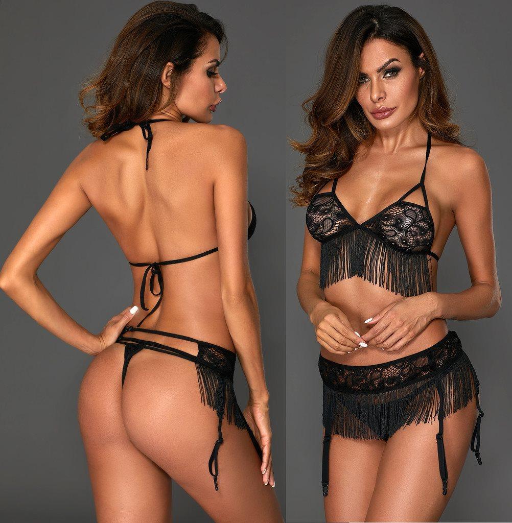 NY M 3-dels Set BH Trosa Spets Julklapp Underkläder Svart Kjol Lingerie  String b9831505ca1a8