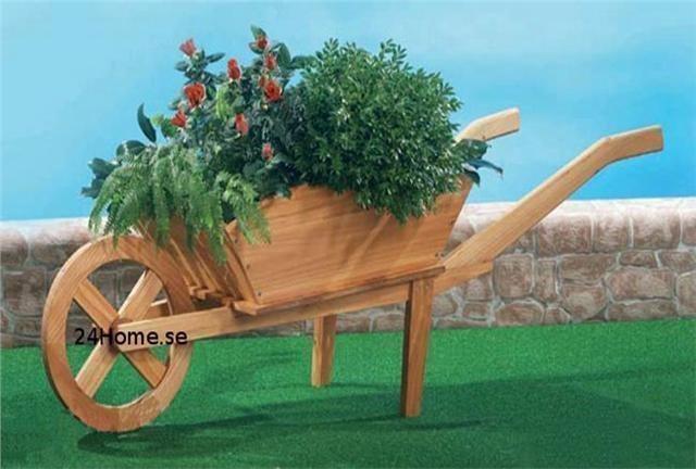 Blomkärra Kruka Trädgårdsprydnad Trä Blomlåda På Tradera Com Utemöbler