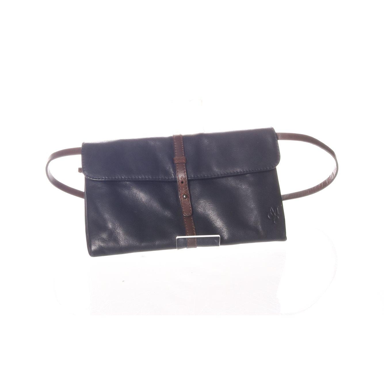 blå handväska skinn