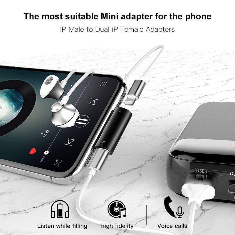 Baseus Adapter för Laddning & Ljud Svart