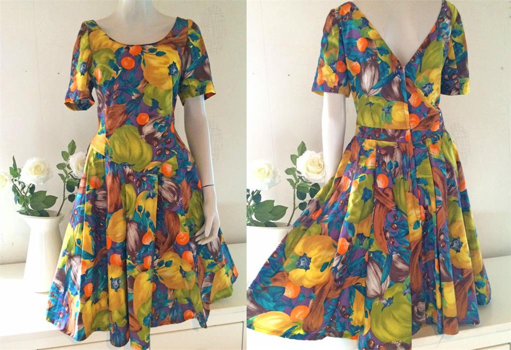 82c9dc761581 Fri frakt retro klänning grön gul lila garden dress 50-tal snitt vintage M  L ...