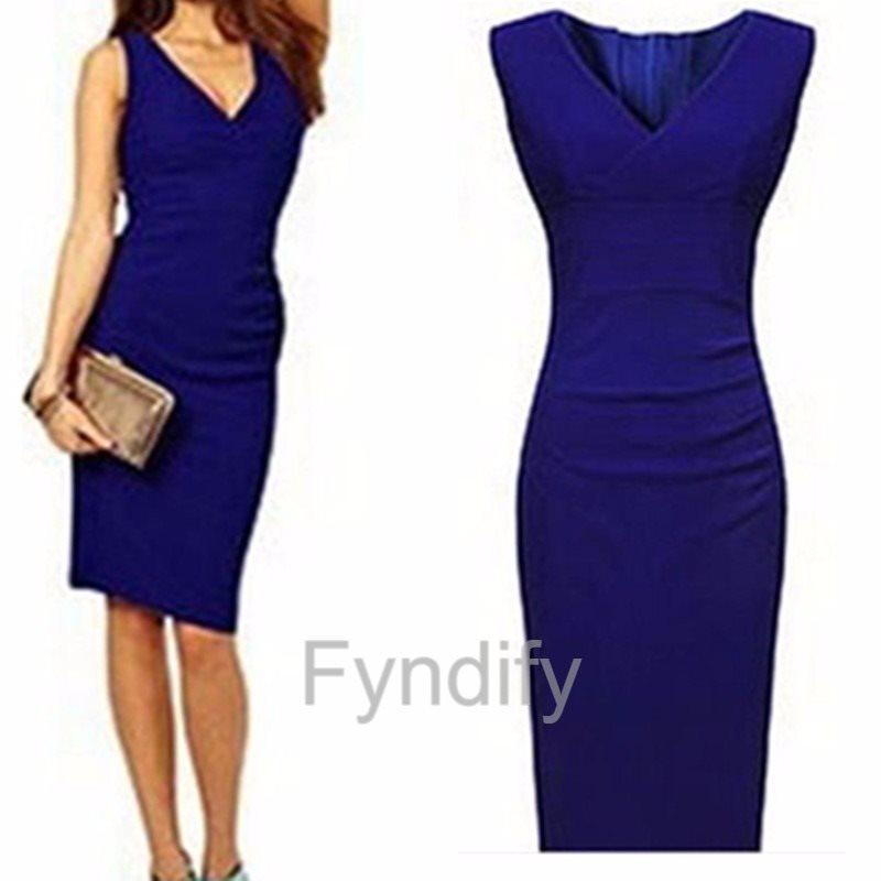Blå klänning V-neck M (277187044) ᐈ Fyndify på Tradera 5650adac3e020