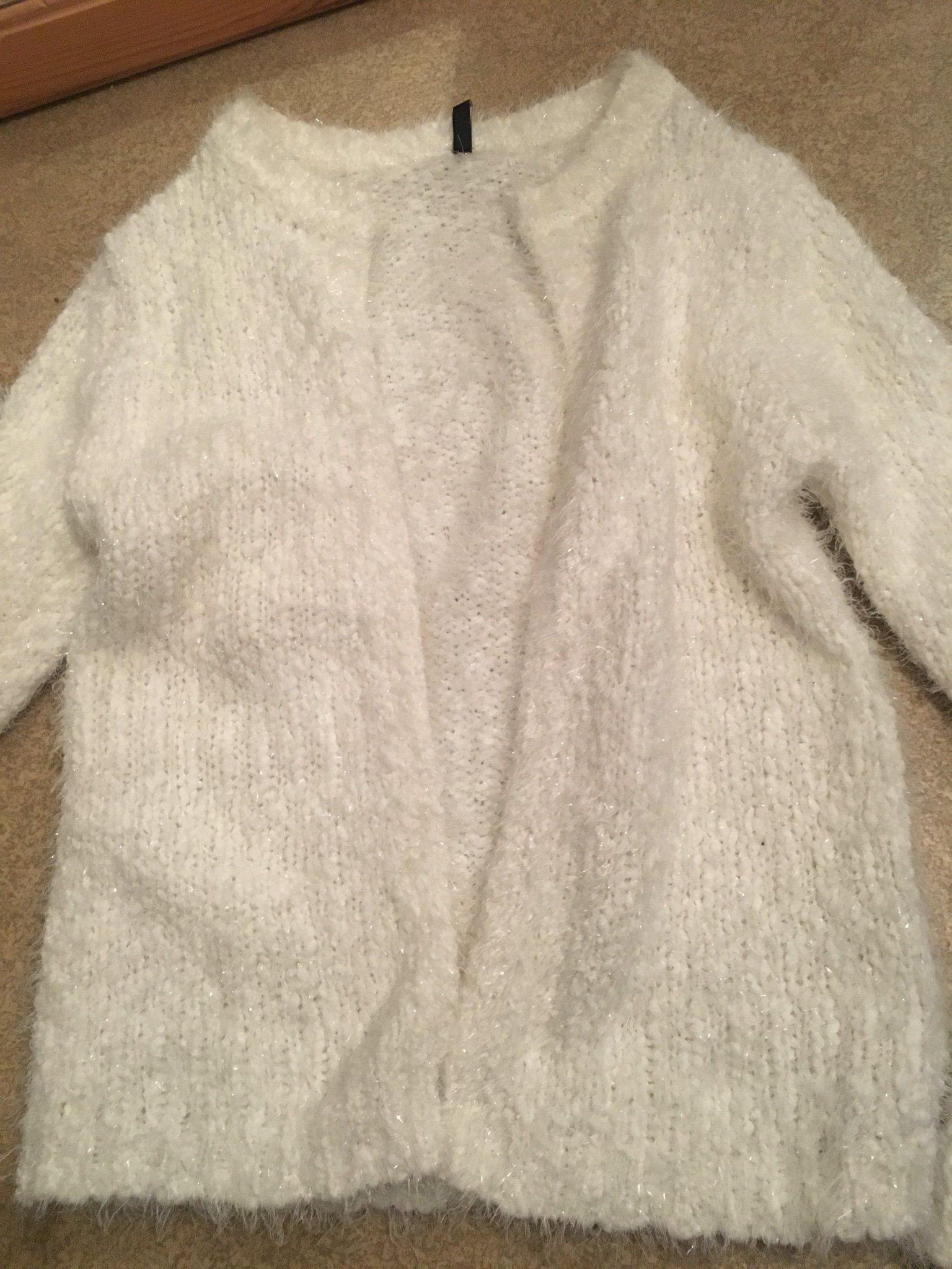 Vit glittrig tröja stl s (372940523) ᐈ Köp på Tradera