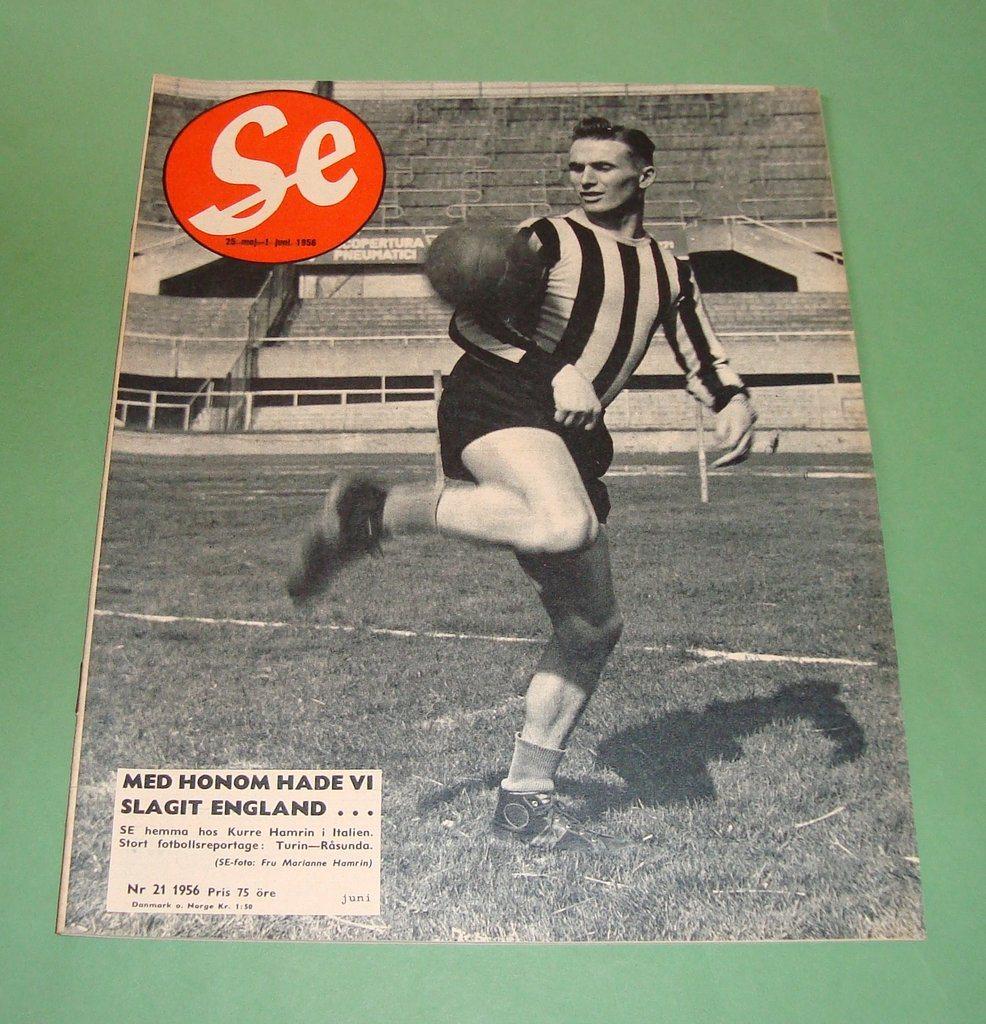 SE nr 21 1956 Kurt Hamrin Elsa Martinelli Sverige England on